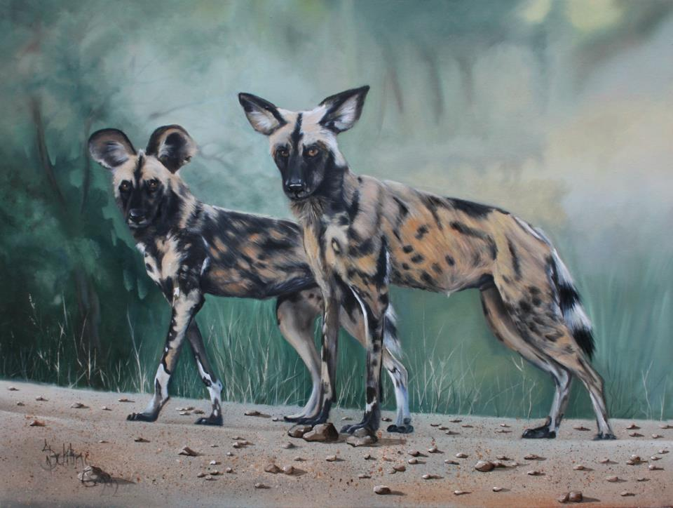 painting of african wild dogs by Norbert Schling
