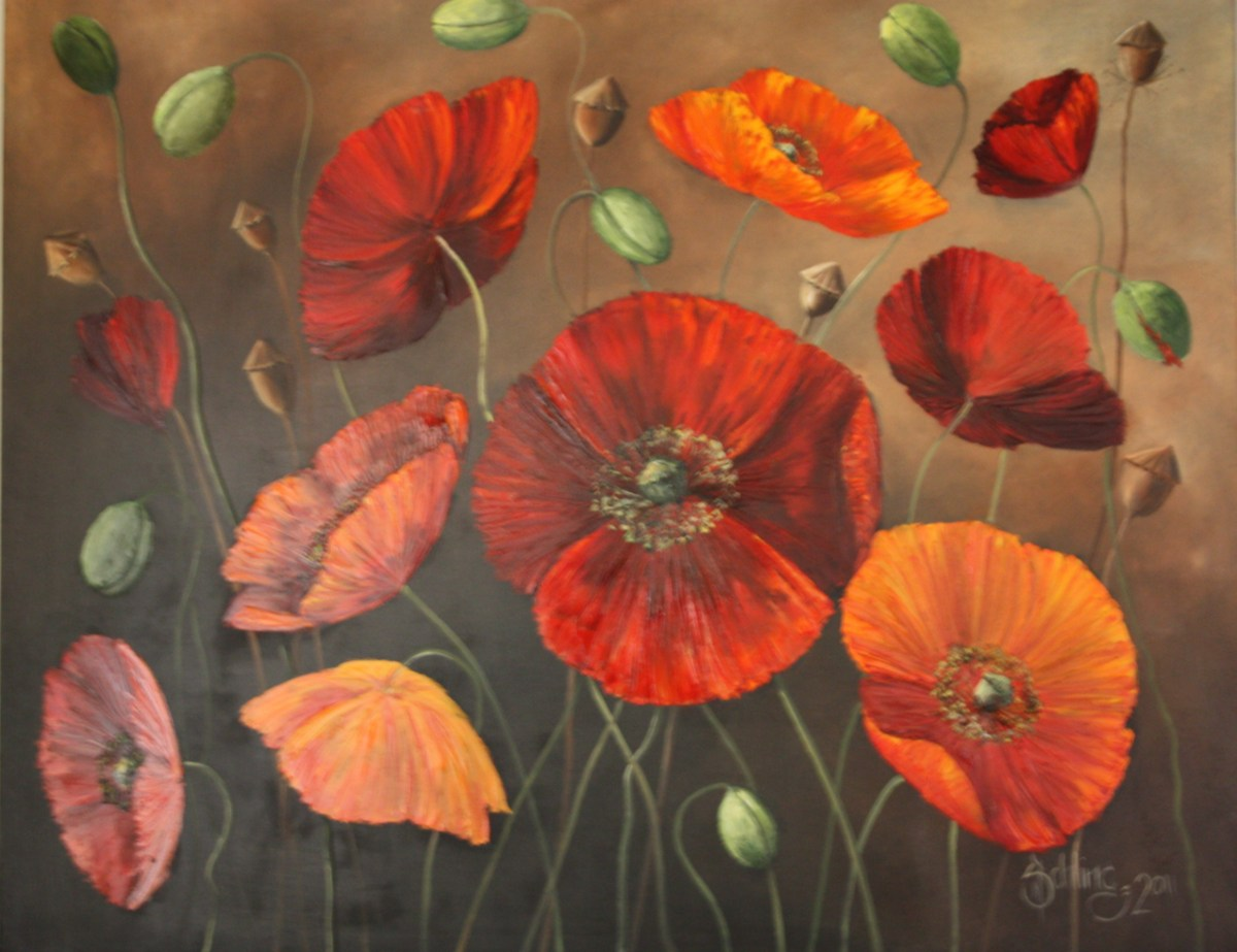 painting of poppies by Norbert Schling