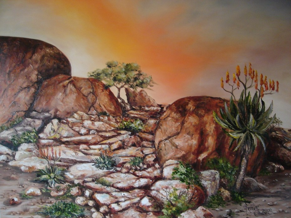 painting of Richtersveld landscape by Norbert Schling